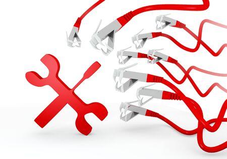 atacaba: Red 3d trabajo t�cnico gr�fico con el s�mbolo de la construcci�n mec�nica atacado por una red virtual Foto de archivo