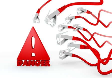attacked: Red  risky no entry 3d graphic with isolated Danger icon attacked by a cyber network Stock Photo