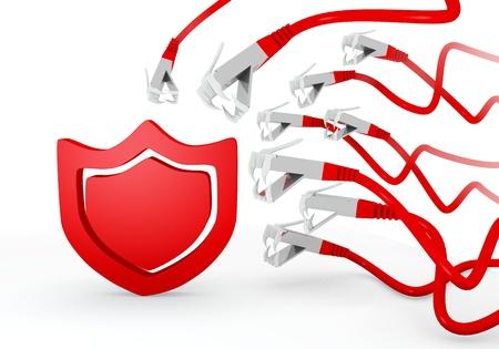atacaba: Red hackeado 3d pirata inform�tico gr�fico con el icono de protecci�n aislado atacado por una red virtual