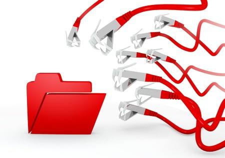 atacaba: Red 3d aislados peligro gr�fica con hackeado carpeta con el s�mbolo atacado por una red virtual