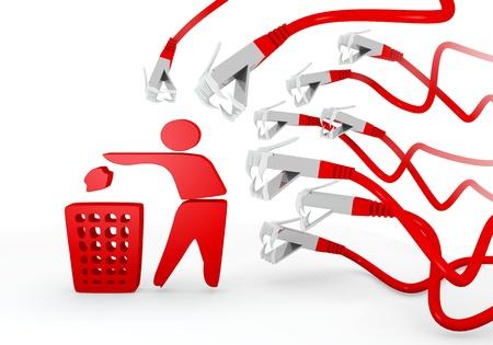 atacaba: Red 3d aislado basura gr�fica con amenaz� delete icon atacado por una red virtual