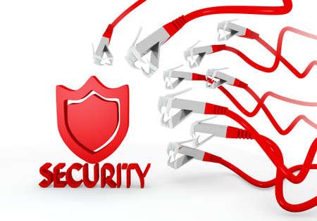atacaba: Red hackeado protecci�n gr�fico 3d con el icono de la seguridad aislado atacado por una red virtual