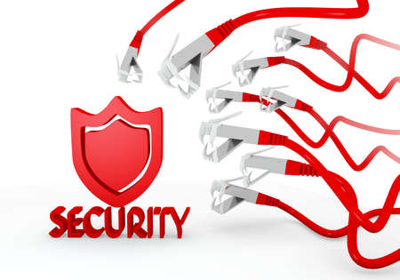 cyber warfare: Red  hacked protection 3d graphic with isolated security icon attacked by a cyber network