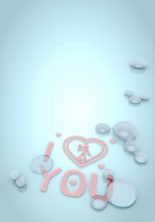 nifty: Dark pastel blue  nifty effect 3d graphic with cream I love you icon