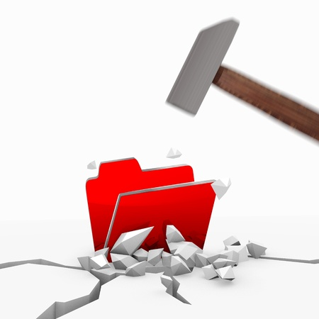 unbreakable: Red  regular office 3d graphic with unbreakable folder icon smashed with a hammer Stock Photo