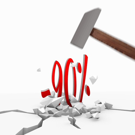 unbreakable: Red  unbreakable tool 3d graphic with strong discount icon smashed with a hammer