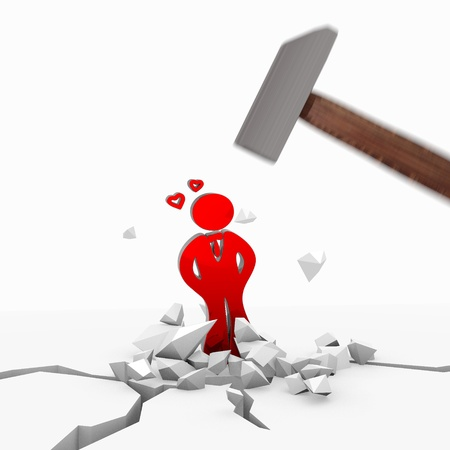 lovesickness: Red  strong destruction 3d graphic with powerful heartsickness icon smashed with a hammer