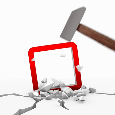 unbreakable: Red  round destroy 3d graphic with unbreakable rectangle symbol smashed with a hammer