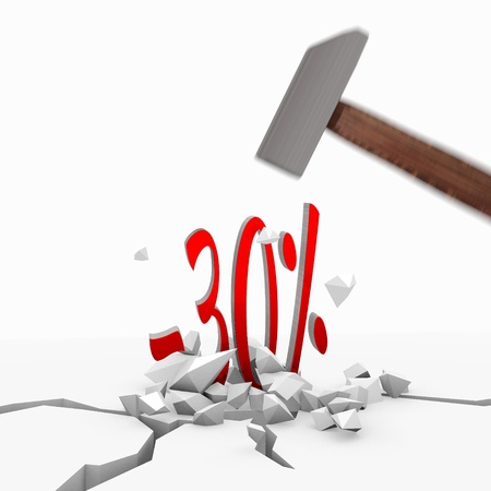 unbreakable: Red  unbreakable destroy 3d graphic with isolated discount icon smashed with a hammer