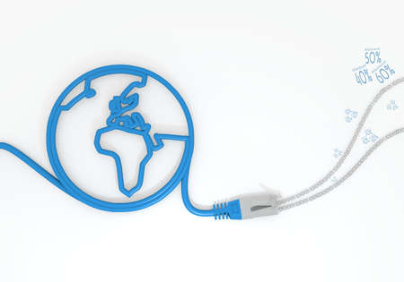 rebate: Medium Persian blue  isolated rebate 3d graphic with submitted discount icon with network cable and world symbol
