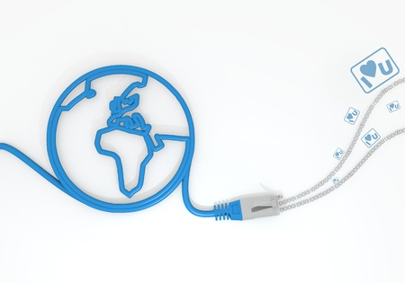 Medium Persian blue  sent sticker 3d graphic with connected I love you symbol with network cable and world symbol