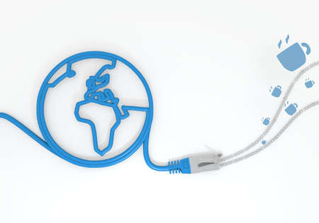 bytes: Medium Persian blue  isolated cable 3d graphic with submitted coffee icon with network cable and world symbol Stock Photo