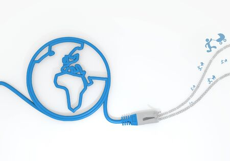 sent: Medium Persian blue  sent baby 3d graphic with sent baby buggy symbol with network cable and world symbol