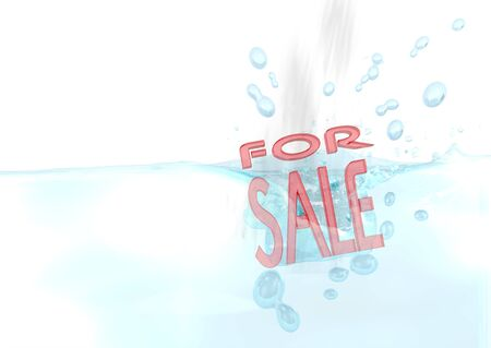Dark red  wet offer 3d graphic with isolated sale symbol fallen into water photo