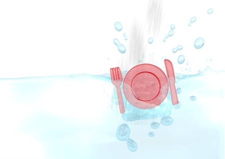 drow: Dark red  isolated breakfast 3d graphic with sinked restaurant icon fallen into water