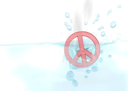 drow: Dark red  harmful war 3d graphic with wet peace symbol fallen into water