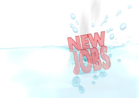 employing: Dark red  liquid employing 3d graphic with sinked new jobs sign fallen into water Stock Photo