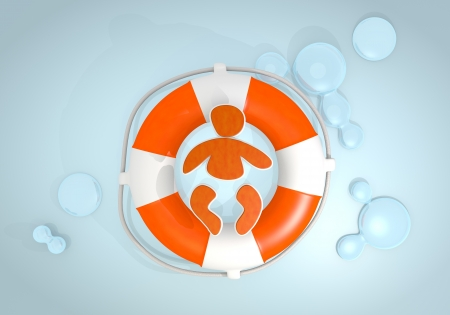 rescued: Dark pastel red  tiny buoy 3d graphic with cute baby icon rescued by a lifesafer