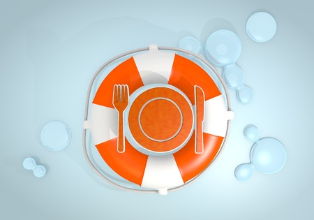 rescued: Dark pastel red  safed buoy 3d graphic with safed restaurant icon rescued by a lifesafer
