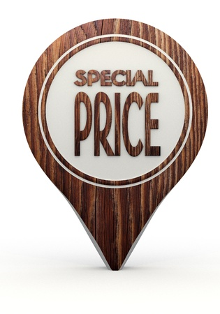 Pastel gray  ecological low 3d graphic with sustainable special price sign on a set of wooden  markers photo