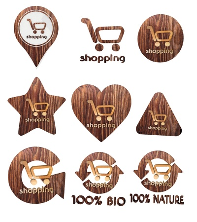 smoky black: Smoky black  environmental nature 3d graphic with environmental shopping symbol set of wooden 3d buttons