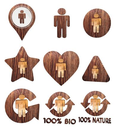 Smoky black  natural ecology 3d graphic with isolated man icon set of wooden 3d buttons photo