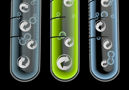 Black  renewable lab 3d graphic with scientific recycling icon  in three test glasses Stock Photo - 19176162