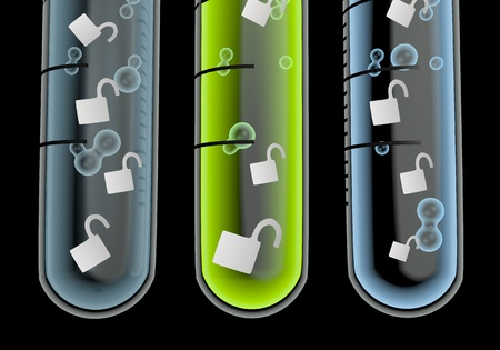 Black  isolated unlock 3d graphic with isolated unsafe symbol  in three test glasses Stock Photo - 19176111