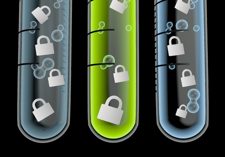 Black  save locked 3d graphic with isolated secure icon  in three test glasses Stock Photo - 19176123