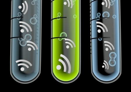 wlan: Black  scientific w-lan 3d graphic with scientific wifi icon  in three test glasses