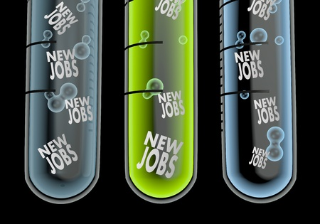 employ: Black  isolated employ 3d graphic with scientific new jobs icon  in three test glasses Stock Photo