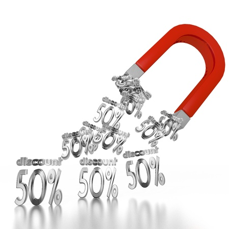 electromagnetic: White  -50 rebate 3d graphic with electromagnetic discount symbol attracted by an magnet Stock Photo