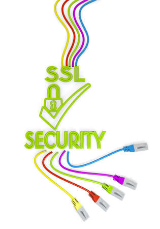 ciphering: Limerick  friendly cable 3d graphic with isolated SSL symbol with colourful network cable Stock Photo