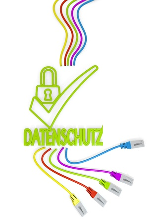 ciphering: Limerick  friendly network 3d graphic with isolated datenschutz(english data protection) symbol with colourful network cable