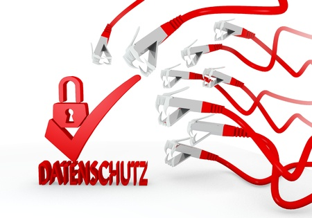 ciphering: Red  hacked spam 3d graphic with isolated datenschutz(english data protection) symbol attacked by a cyber network Stock Photo
