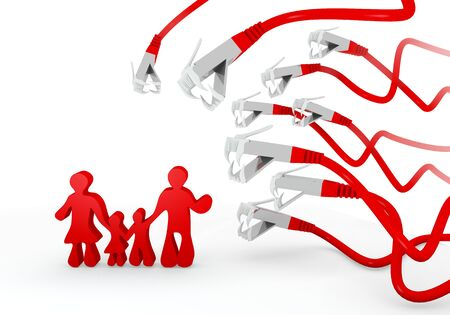 Red  isolated 3d graphic with threatened family symbol attacked by a cyber network