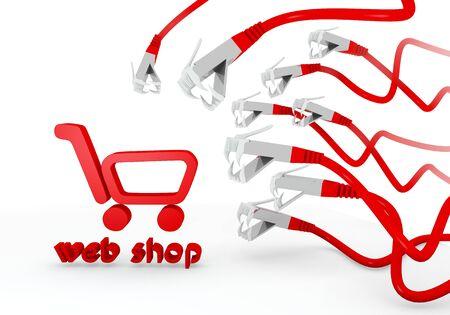 atacaba: Red comercial Red 3d gr�fico con fondo icono de la tienda web atacados por una red virtual Foto de archivo