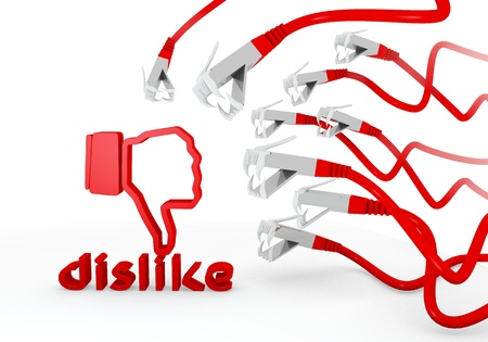 cat5: Red  hacked bad 3d graphic with hacked dislike symbol attacked by a cyber network Stock Photo