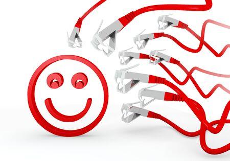 atacaba: Red hackeado felicidad gr�fico 3d con s�mbolo aislado sonrisa atacado por una red virtual Foto de archivo