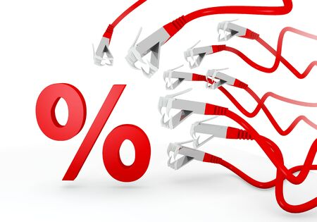 cyber warfare: Red  isolated 3d graphic with threatened percent icon attacked by a cyber network Stock Photo