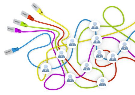 Limerick  connected cable 3d graphic with happy business man icon nodes in network cable chaos