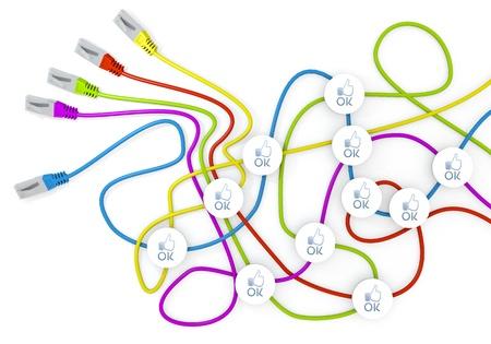 ok symbol: Limerick collegato 3d rete grafico con sgargianti ok nodi simbolo di caos cavo di rete