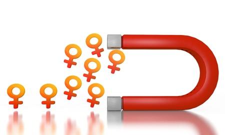 magnetismo: Bianco felice magnetismo grafica 3D con il simbolo di donna elettromagnetico attratto da un magnete Archivio Fotografico