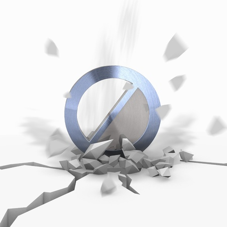 Blue  not allowed destroy 3d graphic with explosive forbidden symbol fallen from sky
