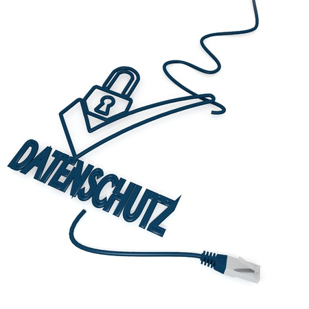 ciphering: Smoky black  isolated SSL 3d graphic with isolated datenschutz(english data protection) icon with cat5 network cable