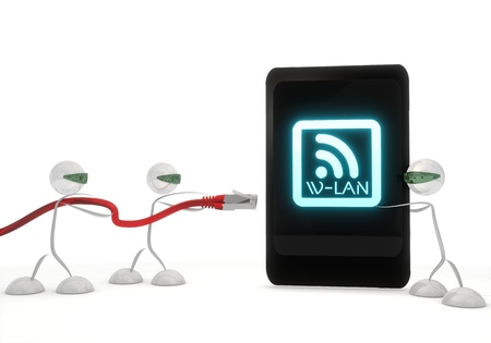 wlan: Red  digital network 3d graphic with cute w-lan icon on a smart phone with three robots Stock Photo