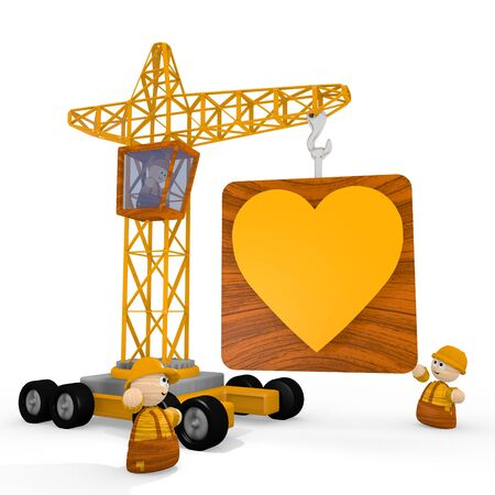 blockade: Dark orange  loving character 3d graphic with childish heart symbol with a crane Stock Photo
