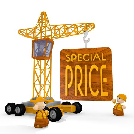 price reduction: Dark orange  childish price reduction 3d graphic with cute special price symbol with a crane Stock Photo