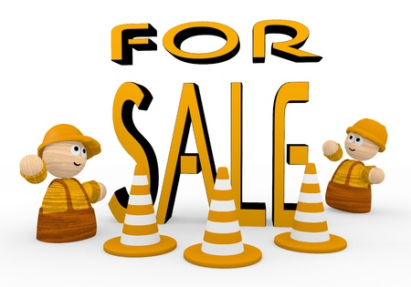 blockade: Dark orange  tiny barrier 3d graphic with tiny sale symbol  with two cute 3d characters Stock Photo