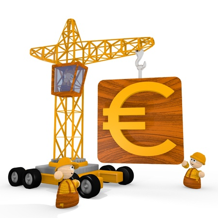 develope: Dark orange  tiny barrier 3d graphic with cute Euro icon with a crane Stock Photo